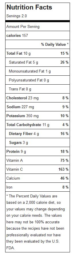 nutrition label for broccoli cheddar soup on blog